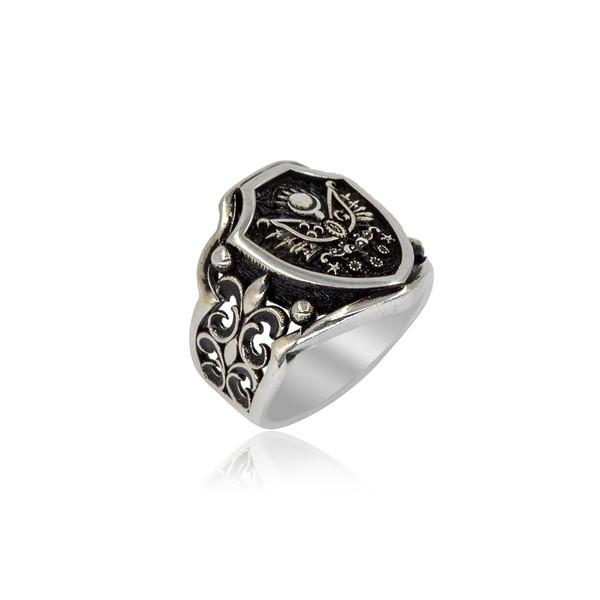 Osmanlı Armalı Gümüş Erkek Yüzük VEY-1104