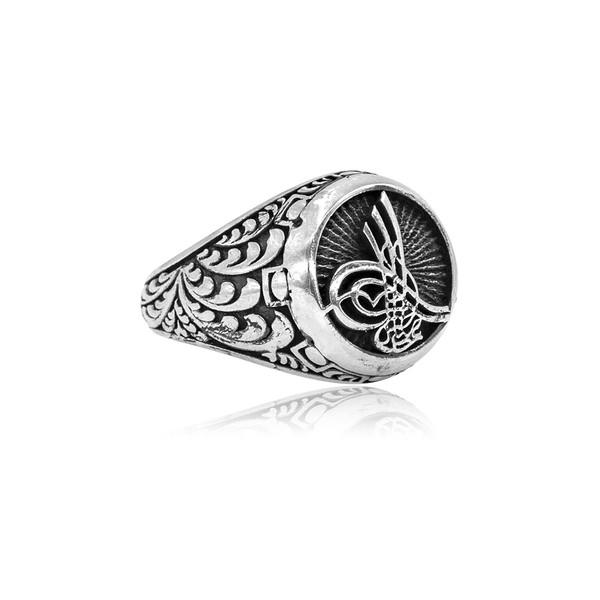 Osmanlı Tuğralı Gümüş Erkek Yüzük VEY-1106