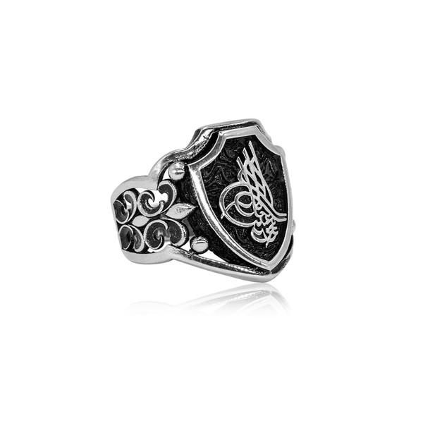 Osmanlı Tuğralı Gümüş Erkek Yüzük VEY-1108