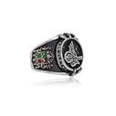 Osmanlı Turalı ve Devlet Armalı Gümüş Erkek Yüzük VEY-1105 - Thumbnail
