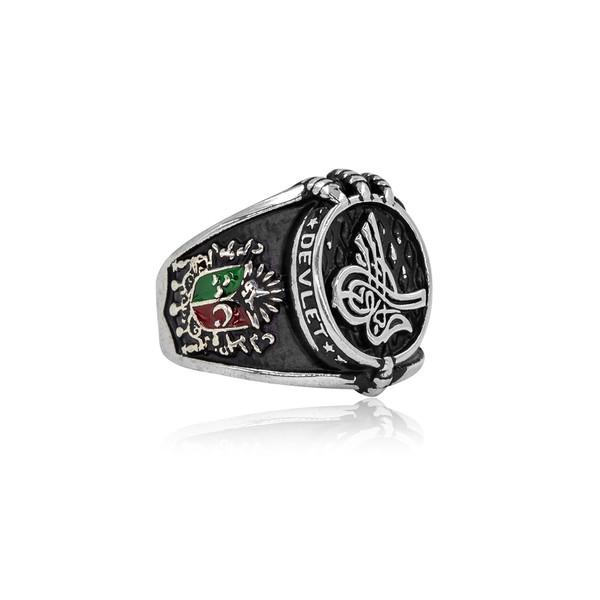 Osmanlı Turalı ve Devlet Armalı Gümüş Erkek Yüzük VEY-1105
