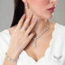 Pırlanta Montur Baget Taşlı Kadın Gümüş Set VKS-8035 - Thumbnail