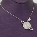 Satürn Gezegen Figürlü Kadın Gümüş Kolye VKK-4045 - Thumbnail