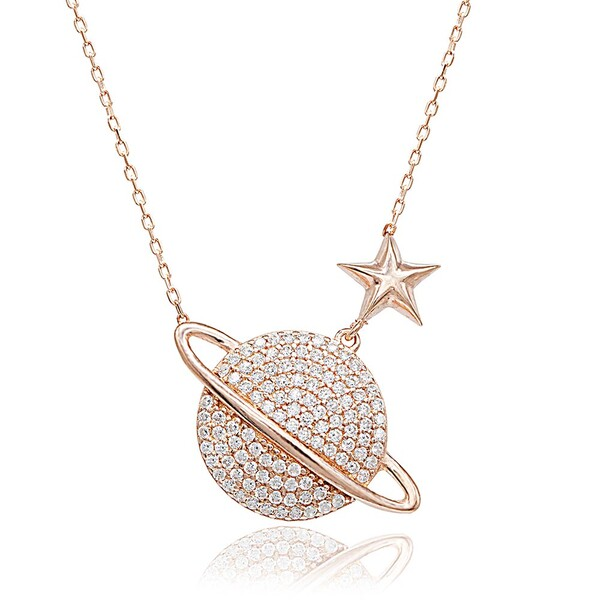 Satürn Gezegen Figürlü Kadın Gümüş Kolye VKK-4095