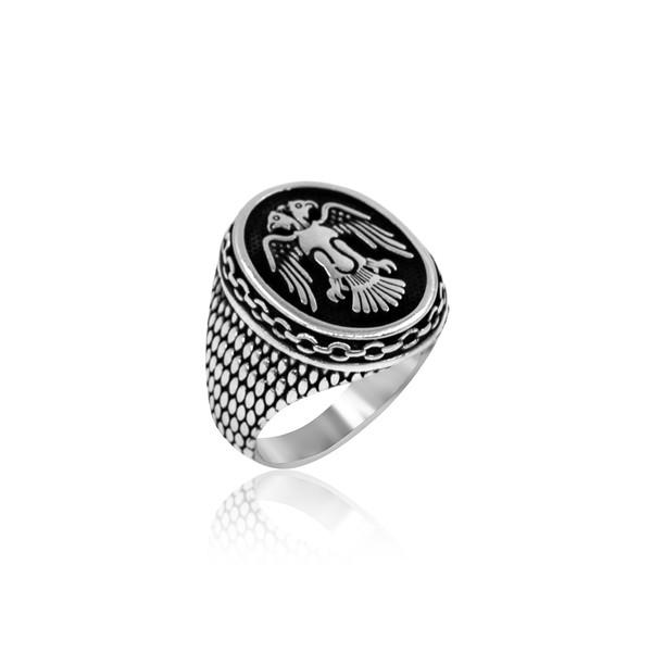 Selçuklu Kartal Motifli 925 Ayar Gümüş Erkek Yüzük VEY-1124