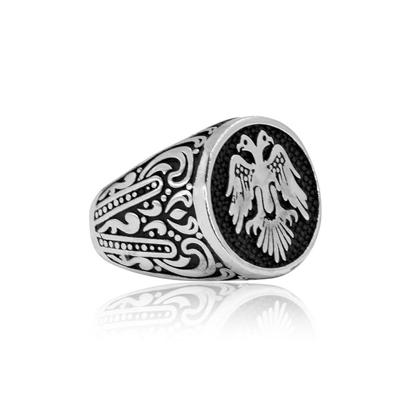 Selçuklu Kartal Motifli 925 Ayar Gümüş Erkek Yüzük VEY-1126