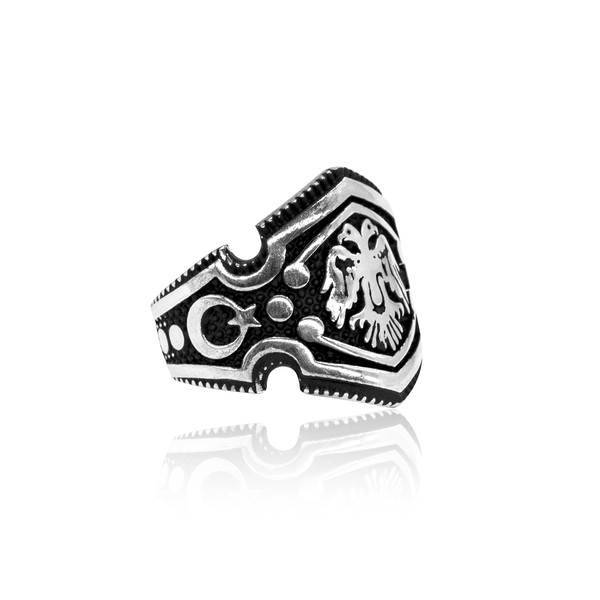 Selçuklu Kartal Motifli 925 Ayar Gümüş Erkek Yüzük VEY-1127