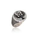 Selçuklu Kartal Motifli Gümüş Erkek Yüzük VEY-1128 - Thumbnail