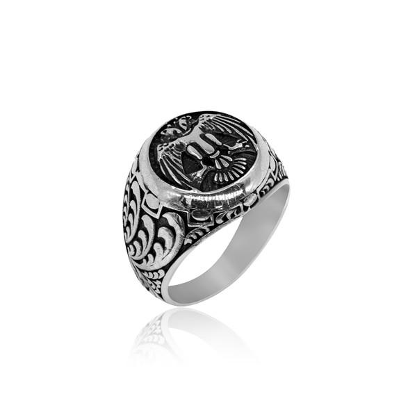 Selçuklu Kartal Motifli 925 Ayar Gümüş Erkek Yüzük VEY-1129
