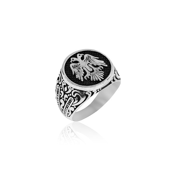 Selçuklu Kartal Motifli 925 Ayar Gümüş Erkek Yüzük VEY-1130