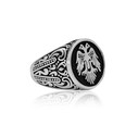 Selçuklu Kartal Motifli 925 Ayar Gümüş Erkek Yüzük VEY-1130 - Thumbnail