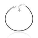 Siyah Zirkon Taşlı Su Yolu Kadın Gümüş Bileklik VKB-6510 - Thumbnail