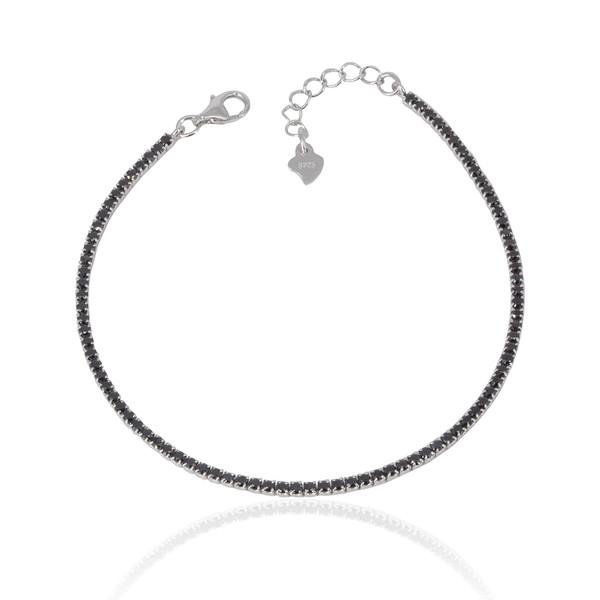 Siyah Zirkon Taşlı Su Yolu Kadın Gümüş Bileklik VKB-6510