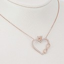 Tektaşlı Kalp ve Sonsuzluk Motifli Kadın Gümüş Kolye VKK-4015 - Thumbnail