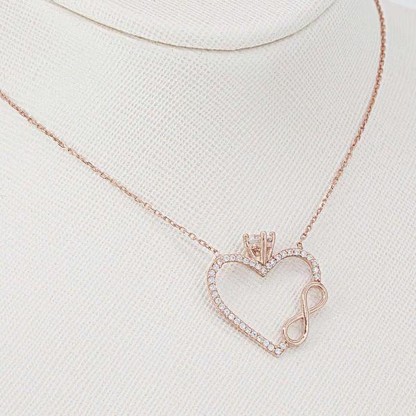 Tektaşlı Kalp ve Sonsuzluk Motifli Kadın Gümüş Kolye VKK-4015