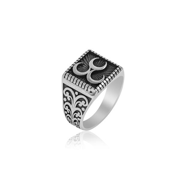 Üç Hilal Motifli 925 Ayar Gümüş Erkek Yüzük VEY-1119