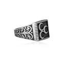 Üç Hilal Motifli 925 Ayar Gümüş Erkek Yüzük VEY-1119 - Thumbnail