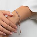 Nazar Boncuklu Zirkon Taşlı Kadın Gümüş Bileklik VKB-6018 - Thumbnail